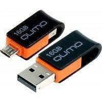 USB флешка Qumo 16GB Hybrid OTG (черно-оранжевый)